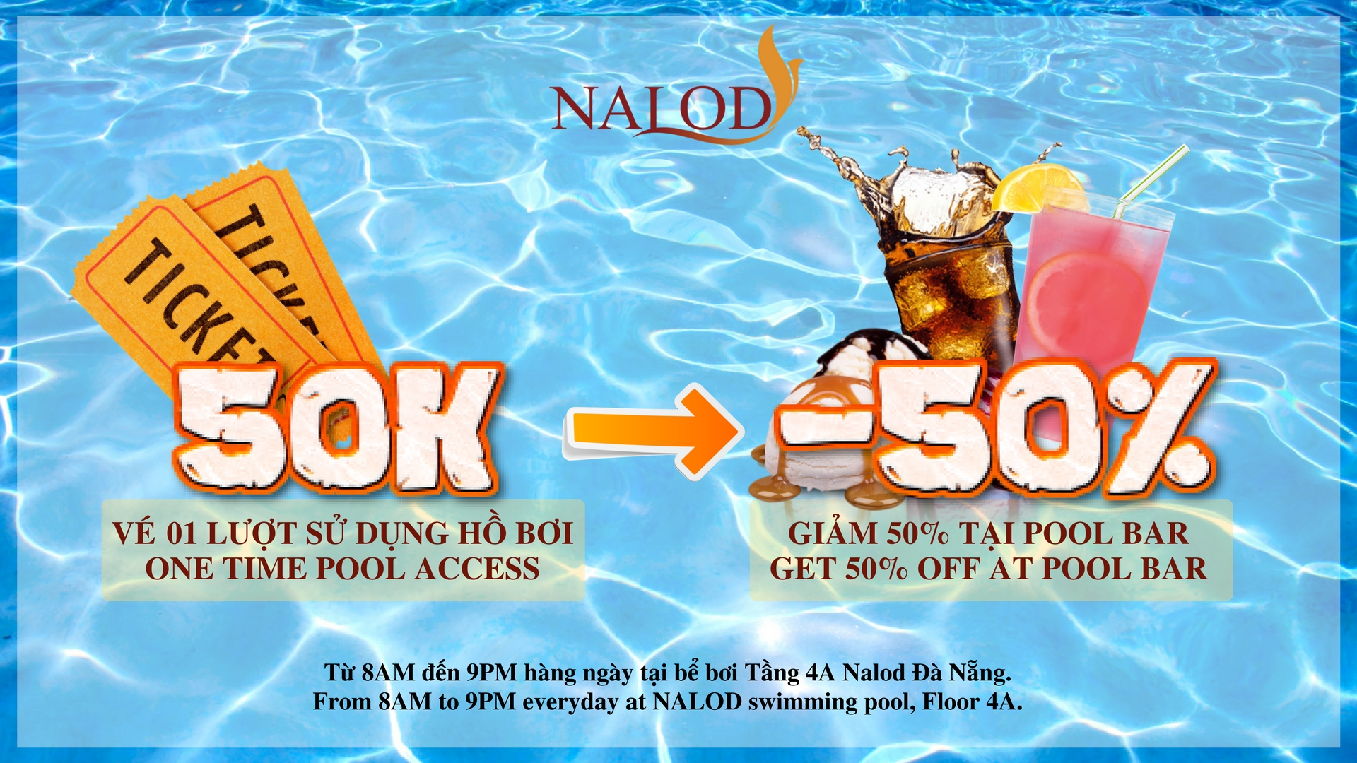 POOL TICKET ONLY 50K, GET 50% DISCOUNT AT POOL BAR